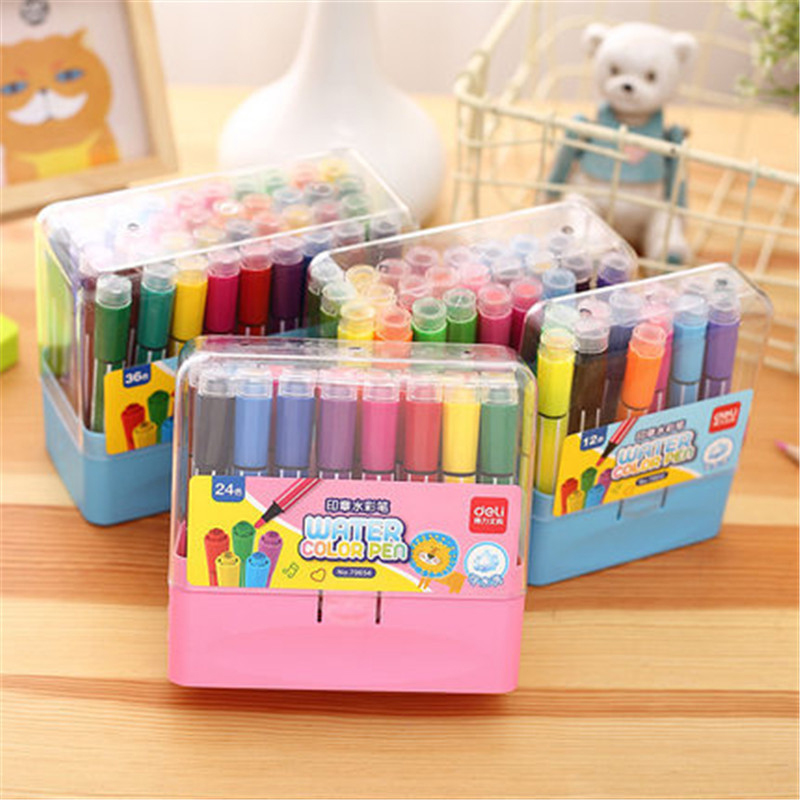 Premium Watercolor Markers Pen Stamp Drawing Pens Children seal Washable Painting Pen 12/18/24/36 Color Set For Kids Gift new children s sketchers drawing toys sketchpad projector with 6 slides 8pcs pens doodle drawing board kids toy for children