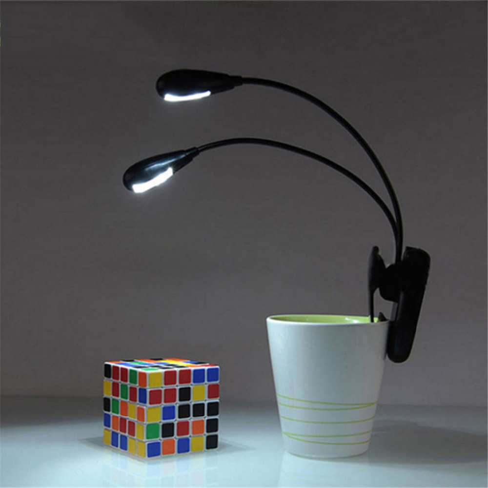 E-SMARTER Adjustable Goosenecks Clip on Two Light Poles LED Lamp for Music Stand and Book Reading Light Small Desk Lamp