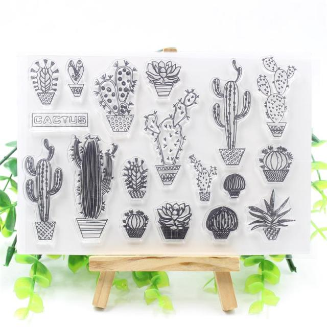 Transparent Silicone Cactus Stamp Sheet for Scrapbooking and Embossing