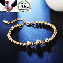 OMHXZJ Wholesale Personality Fashion OL Woman Girl Party Wedding Gift White Gold Beads Chain 18KT Bracelet BR11