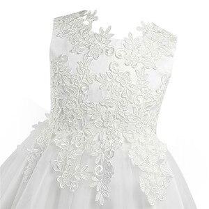 Image 3 - Biały/kość słoniowa bez rękawów długość herbaty pierwsza komunia kwiatowe sukienki dla dziewczynek dla dzieci kwiecista koronka korowód przyjęcie weselne suknia wieczorowa