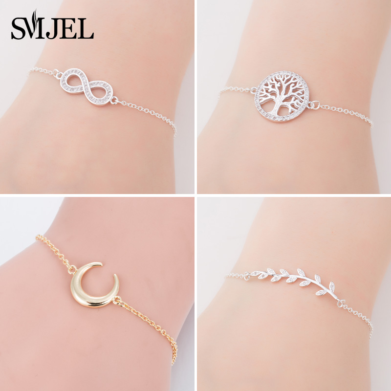 SMJEL Tree of Life Bracelet Leaf Sliver Infinity Moon Anchor Charm Bracelets For Women Pulseria Feminina Boy & Girl Jewelry