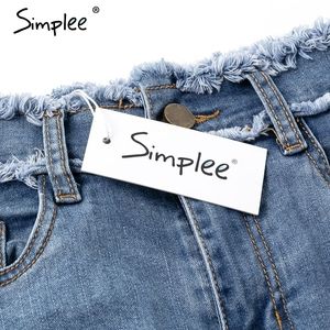 Image 5 - Simplee Sexy pencil denim women skirt Tassel high waist bodycon mini skirt female Casual streetwear jeans summer skirts 2019