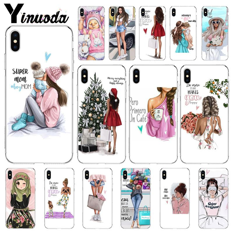 Yinuoda Black Brown Hair Baby Mom <font><b>Girl</b></font> Queen Soft Silicone TPU Phone <font><b>Cover</b></font> <font><b>for</b></font> Apple <font><b>iPhone</b></font> 8 7 <font><b>6</b></font> 6S Plus X XS MAX 5 5S SE XR image