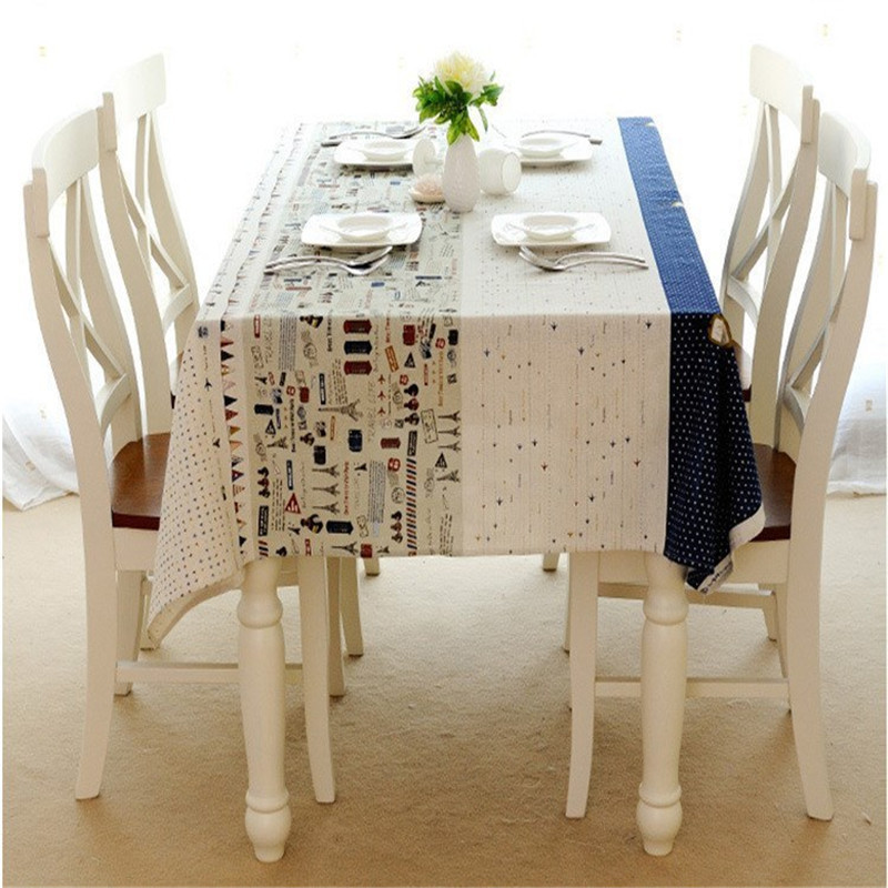 Printing Small Plane Tower Lace Table Cloth Cotton Linen Table Cloth Coffee  Table Kitchen Dinner Room