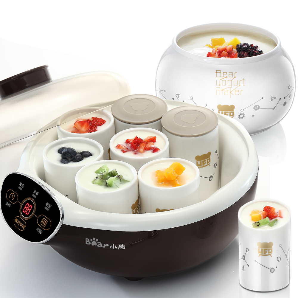 Bear Household Intelligent Yogurt Makers with 8 Ceramic Sub-cup Large Fully Automatic Yogurt Rice Wine Natto Making Machine natto yogurt makers household fully automatic yogurt machine with glass liner timing rice wine machine 4 sub cup green