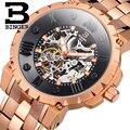 BINGER Men's Skeleton Mechanical Watches Big Dial Roman Luminous Sports Army WristWatch Luxury Casual Men Business Watch B5032M