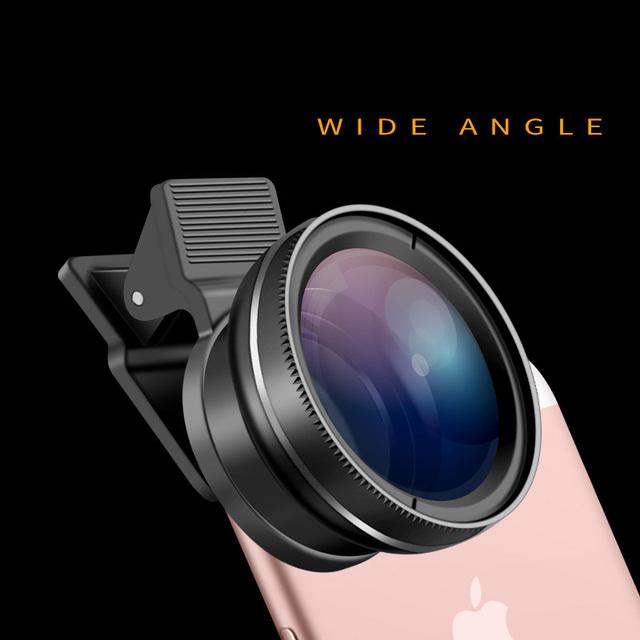49uv móvil profesional 37mm lente gran angular 0.45x gran angular + macro lente de clip para el iphone y otros smarphone teléfono
