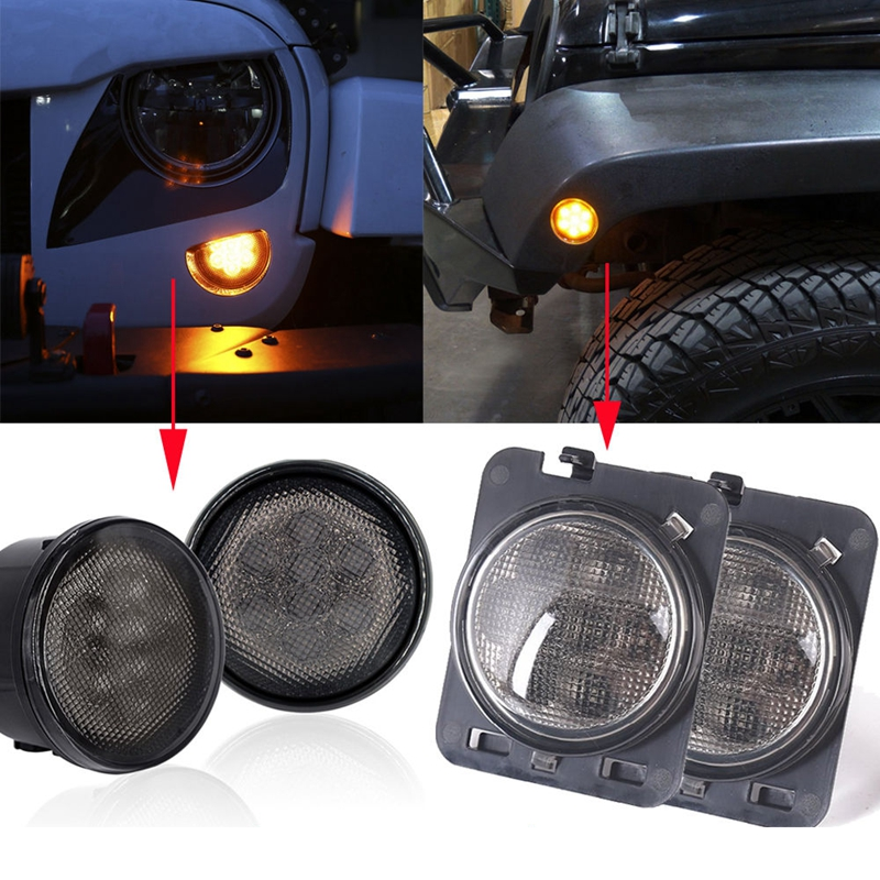 Smoke Lens Amber LED Turn Signal Light & Side Marker Light for Jeep Wrangler JK wrangler smoke lens amber led front replacement turn signal light fender side marker light for 2007 2017 jeep wrangler jk jku