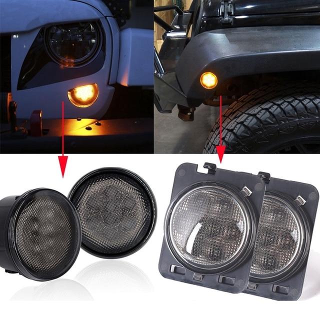Smoke Lens Amber LED Turn Signal Light & Side Marker Light for Jeep Wrangler JK
