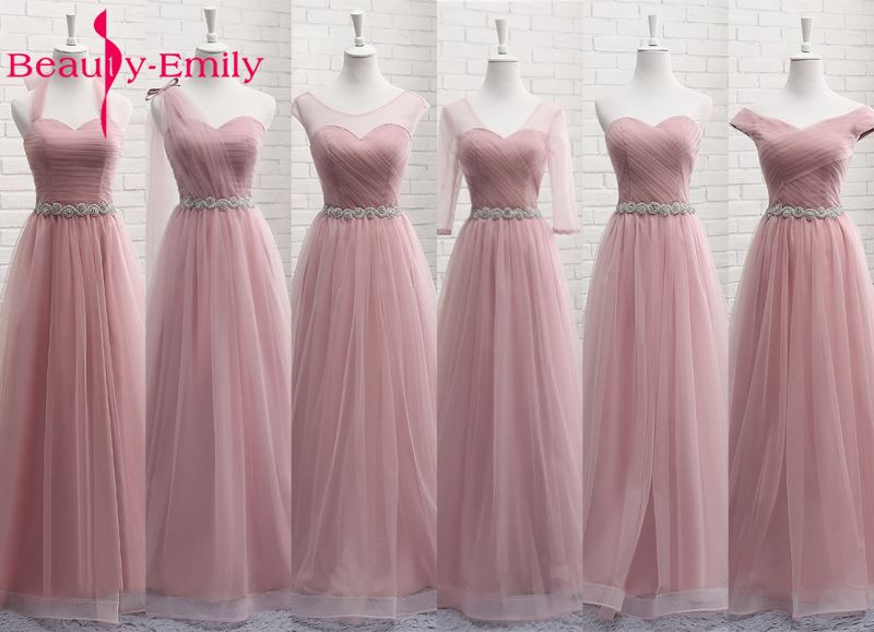 Tulle Lace Dark Pink Bridesmaid Dresses 2019 Long For