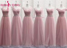 Tulle Lace Dark Pink Bridesmaid Dresses 2019 Long for Women A line Wedding Party Prom Vestido De Festa