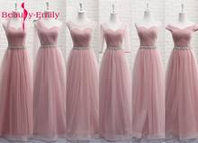 Tulle Lace Dark Pink Bridesmaid Dresses 2019 Long for Women A line Wedding Party Prom Dresses Vestido De Festa Party Dresses(China)