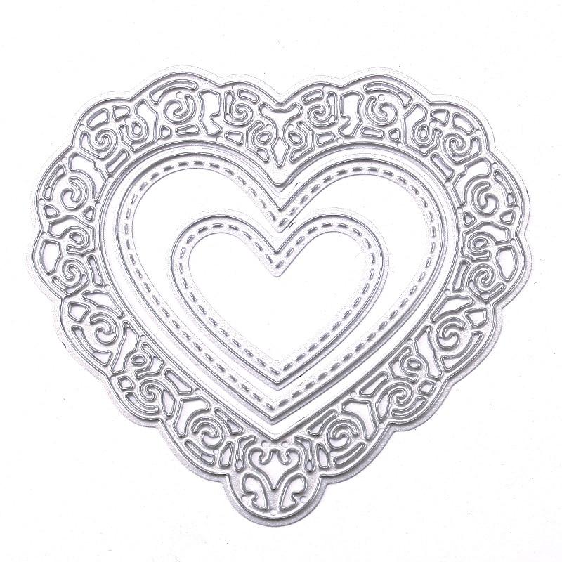 New Lovely Heart Metal Cutting Dies Stencils DIY Scrapbook