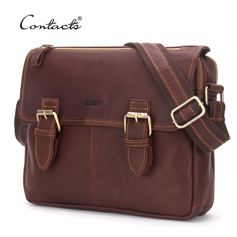 ФОТО CONTACT'S Guaranteed Genuine Leather Men Messenger Bags Casual Travel Bag Men's Briefcase For Man Shoulder Bag High Quality 2017