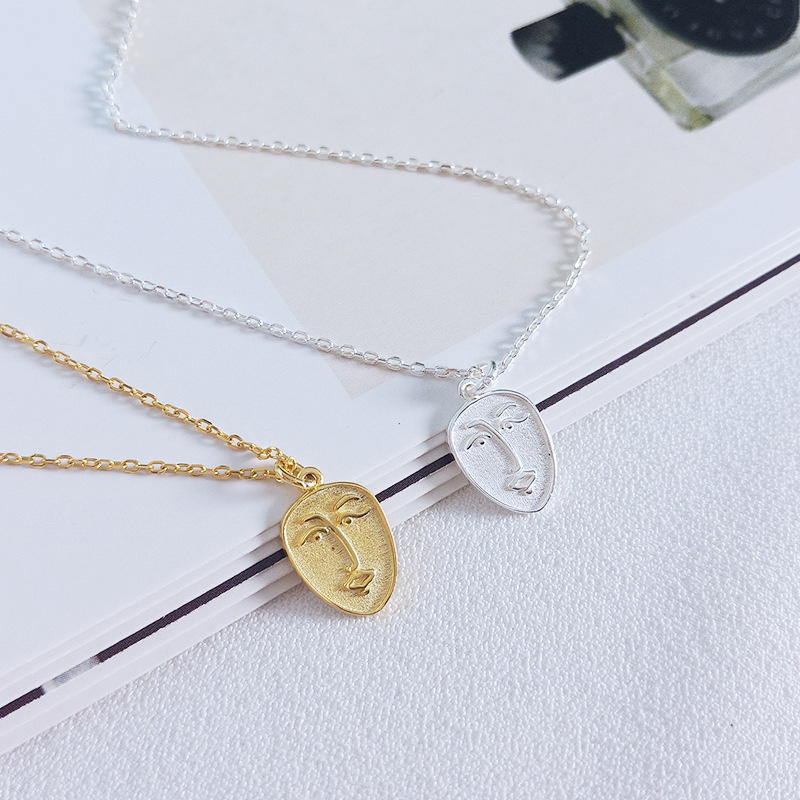 Real 925 Sterling Silver Abstract Face Personality Design Pendant Necklace For Fashion Women Gold Color Fine Jewelry T1482Real 925 Sterling Silver Abstract Face Personality Design Pendant Necklace For Fashion Women Gold Color Fine Jewelry T1482