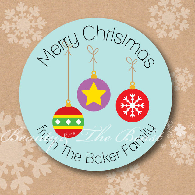 personalized christmas stickers tags small bell gift labels for