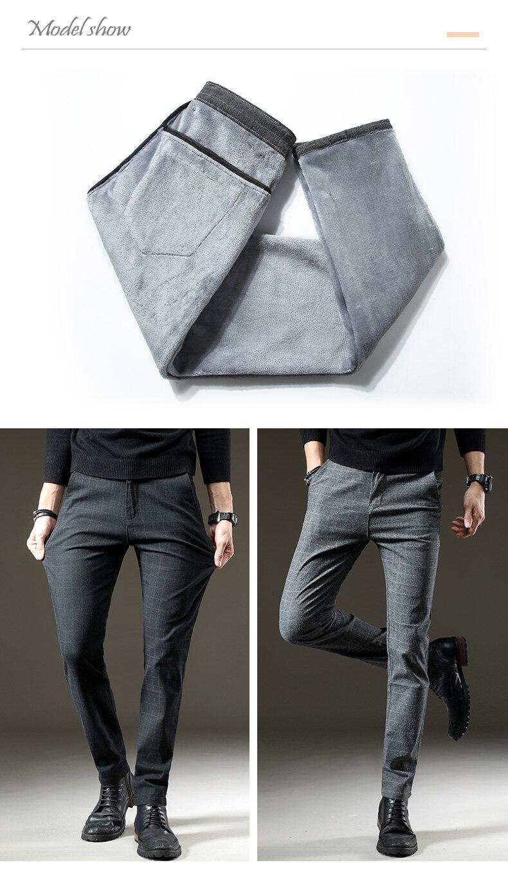 HTB1TgeQXojrK1RkHFNRq6ySvpXam Brand Men's winter Fleece Fluff Thicken warm Casual Pants men Business Straight Elastic Thick Plaid cotton gray trousers male