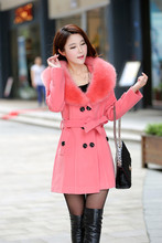 2018 Winter Women S Double Breasted Big Fur Collar Plus Size Wool Coat Long Jackets Parka Coats Outerwear High Quality