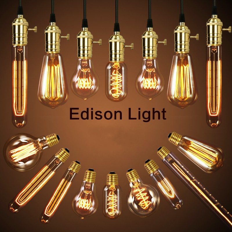 American vintage pendant lights copper lamp holder tungsten light bulb industry pendant lamps Golden/Chrome E27 W-filament bulb
