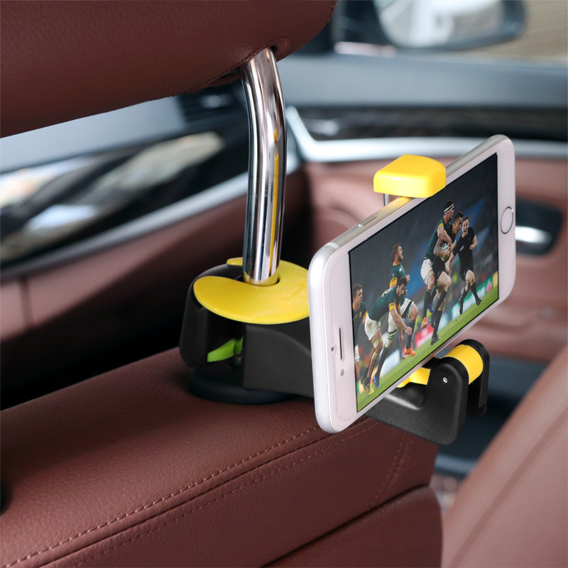 2 In 1 Car Headrest Hook With Phone Holder Seat Back Hanger For Bag Handbag Purse Grocery Cloth Foldble Clips Organizer