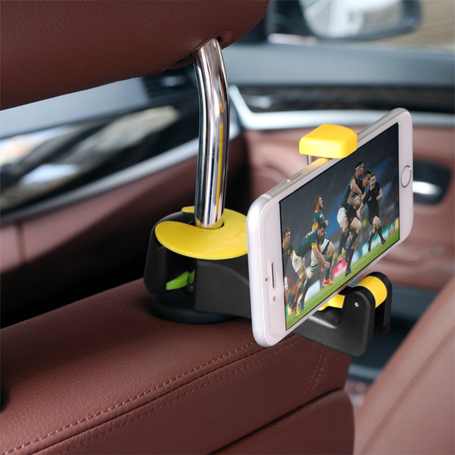 2 in 1 Car Headrest Hook with Phone Holder Seat Back Hanger for Bag Handbag Purse Grocery Cloth Foldble Clips Organizer