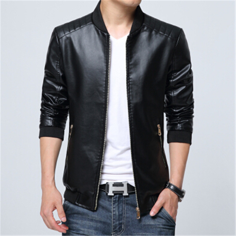 2017 Motorcycle Leather Jacket Men Solid Slim Fit Mens Leather Jackets and Coats Luxury  ...