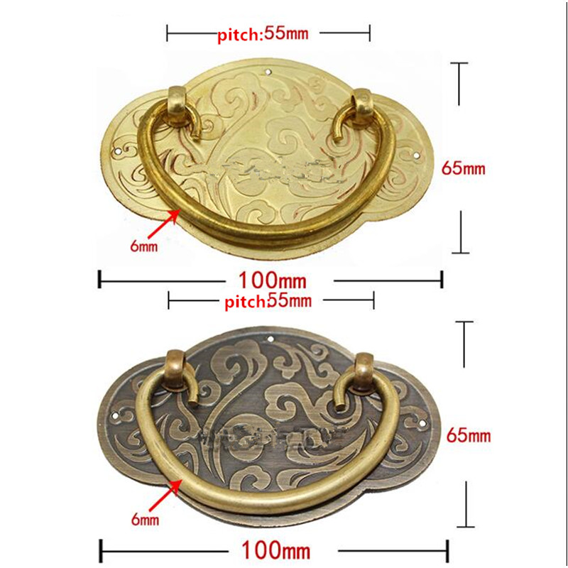 Antique Brass Cloud Pattern Drawer Cabinet Desk Box Door Pull Handle Knob Furniture Hardware,100*65mm,1PC 4pcs antique brass jewelry chest wood box decorative feet leg corner brackets protector for cabinet furniture hardware