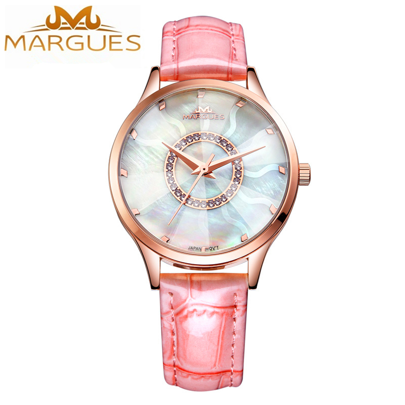2017 Fashion Ladies Dress Watch Women Rose Gold Leather Casual Crystal Rhinestone Top Brand Luxury Wrist Quartz Watch