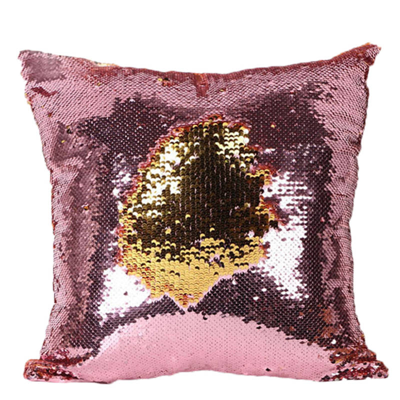 unikea Mermaid Sequin Cushion Cover Magical Pink Throw Pillowcase 40cmX40cm Color Changing Reversible Pillow Case