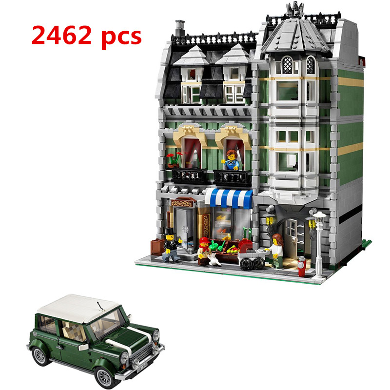 2018 Lepin 15008 City Street Green Grocer Model Building Kits Blocks Bricks Compatible Educational Toys 10185 21002 MINI Cooper dhl lepin15008 2462pcs city street green grocer model building kits blocks bricks compatible educational toy 10185 children gift