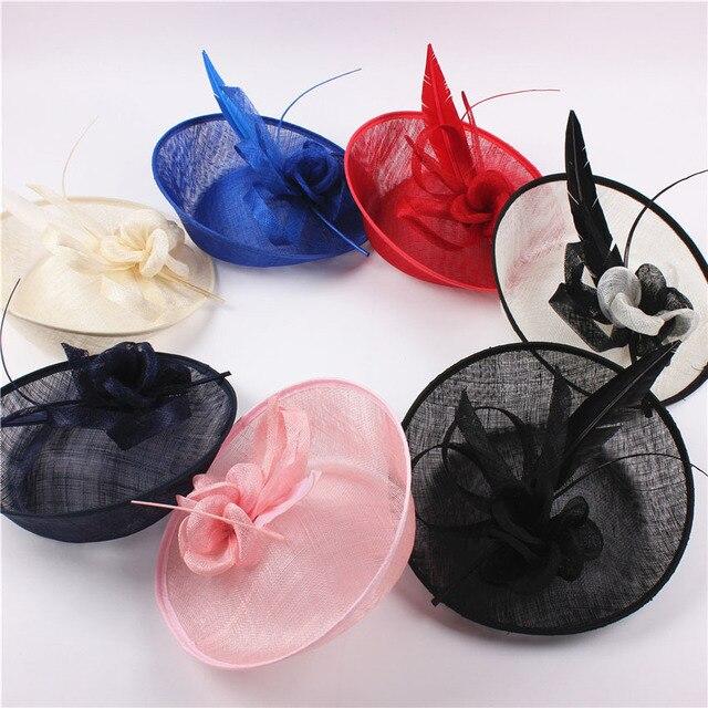 2016 Elegant Lady Fashion Sagittate Feather Fascinator Sinamay Hat Woman Wedding Flower Sinamay Hat Headband Red Pink Royal Blue
