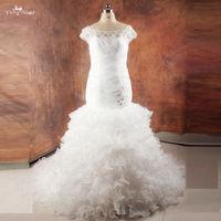 RSW999 Nigeria Pleated Corset Ruffles Organza Skirt Wedding Gowns Mermaid