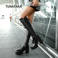 Knee High Boots Platform Thick Heel Warm Winter Fashion Faux Pu New Product Woman Long Boot