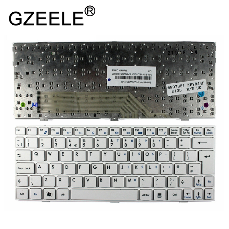 GZEELE New for MSI Wind U135 U135dx U160 U160dx U180 White Frame White UK Layout Replacement Laptop Keyboard garda decor набор подарочный с ароматом лимонника и имбиря