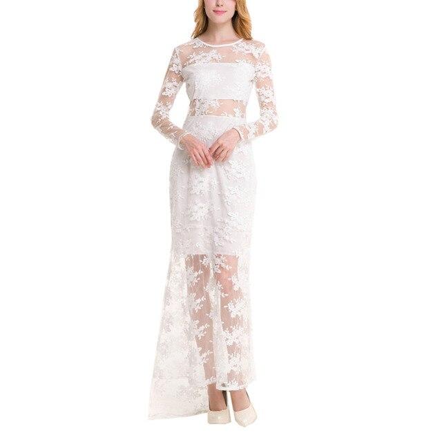 Vrouwen sexy kant bloemen borduurwerk zien door vloer lengte formele jurken dames elegant bodycon maxi party dress