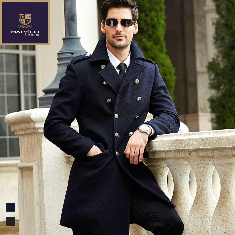 The new men's fashion casual jacket wool coat solid color double collar coat thick coat leisure coat windbreaker men
