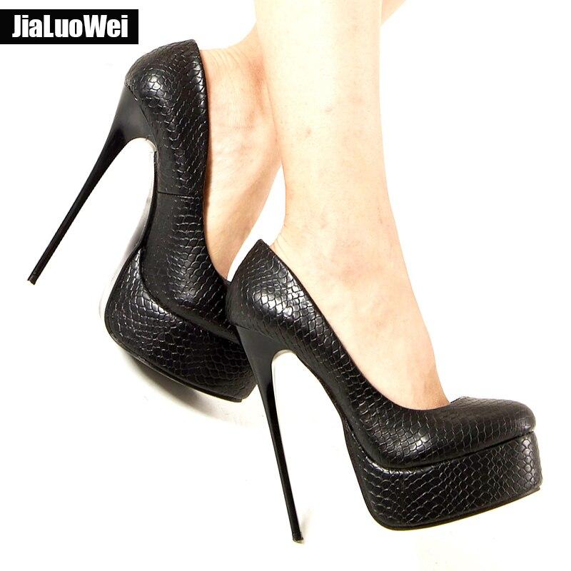 jialuowei Women s Pumps 16CM Super High Heel Sexy Platform Slip-On Girl  Party Wedding Nightclub Shoes Plus Size 36-46 7791bba3710a