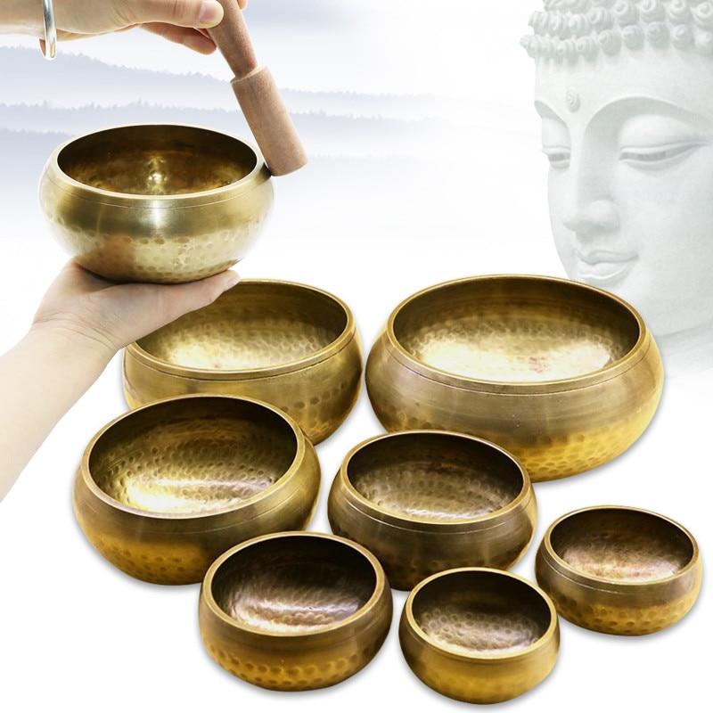 Cuenco tibetano de cobre budista cuenco decorativo-platos de pared decoración del hogar Decoración decorativa de pared cuenco tibetano para cantar