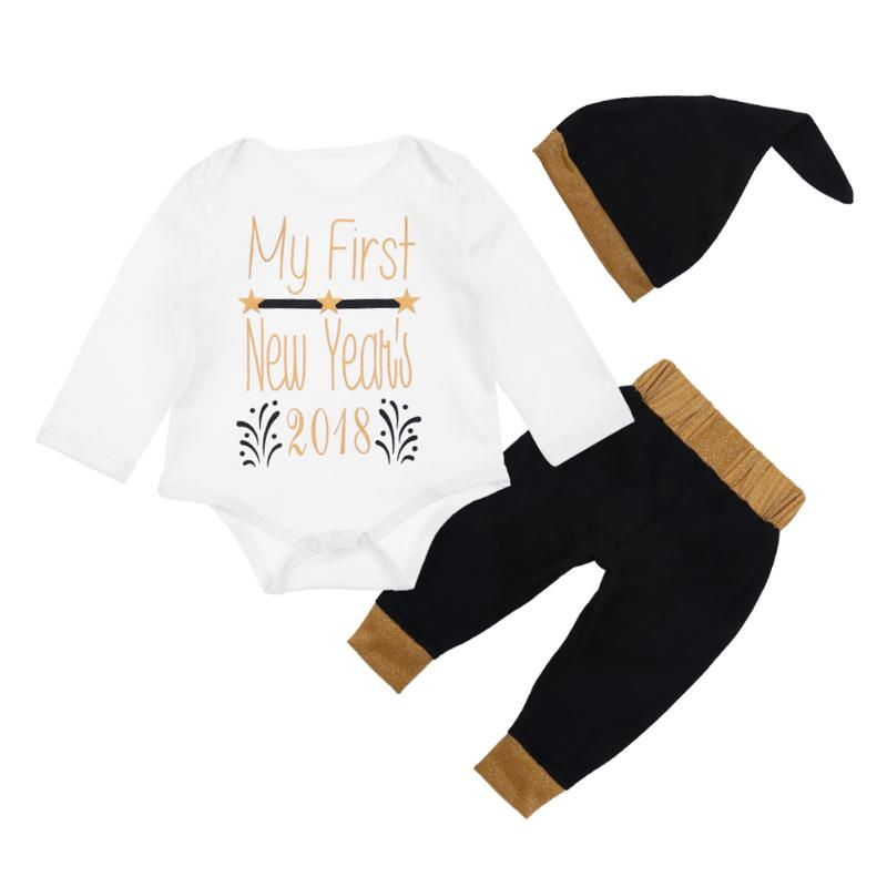 Babys New Year Letters Print Casual Romper Pants Hat 3pcs Outfit Spring Newborn Baby Cotton Comfortable Clothing Set