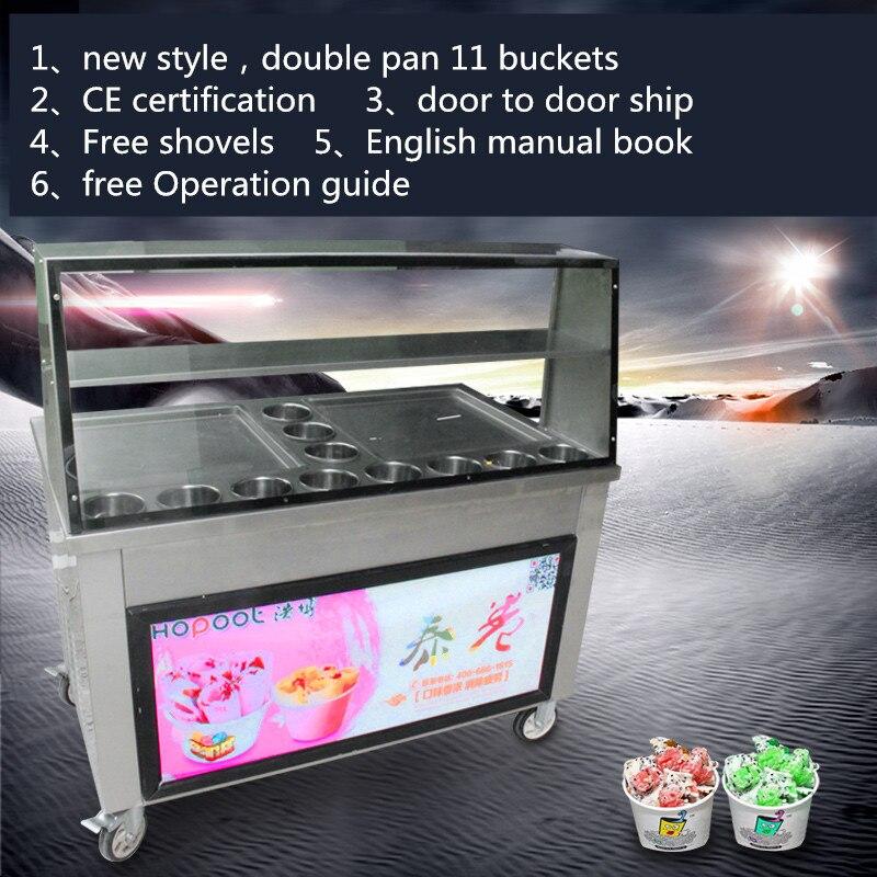 Новые жареное мороженое крен машины, Hitachi компрессор жареный лед Пан машина, одна кастрюля с 11 ведра обжарить льда с лампами