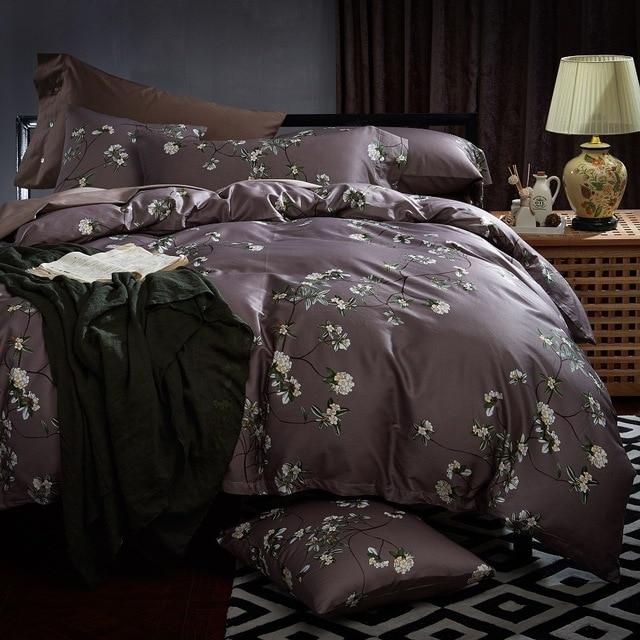 Chausub Silk Bedding Set 4pc Satin Egyptian Cotton Duvet Cover Print Bed Sheets Pillowcase King Queen Size Linens