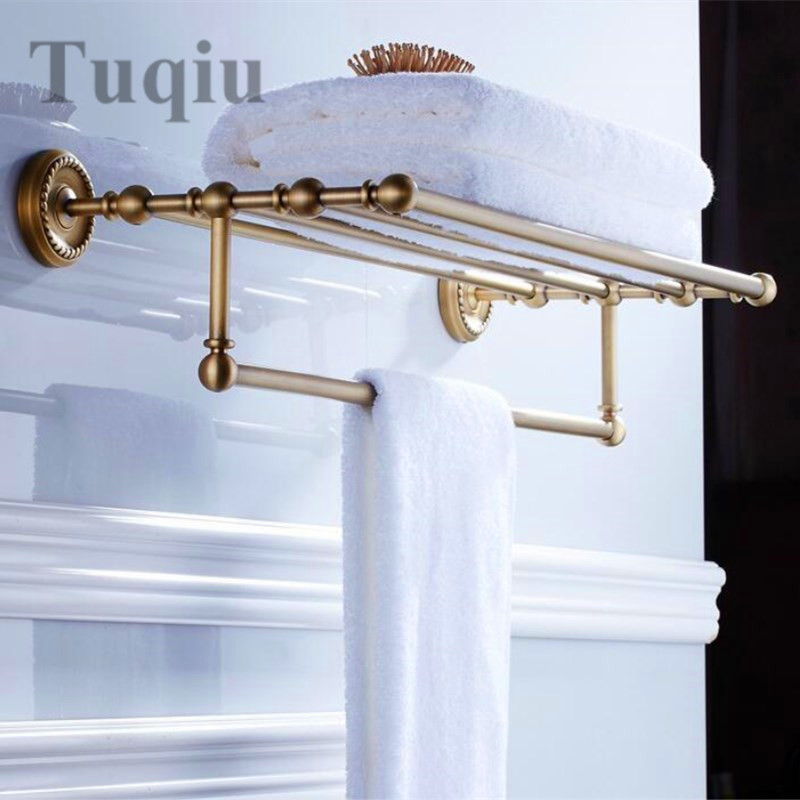 Antique bronze Fixed Bath Towel Holder Wall Mounted Towel Rack 60 cm Towel Shelf Bathroom Accessories Luxury Brass Towel Rail bathroom thickened antique bath towel frame wall hanging rack full copper bathroom accessories set fixed towel rack