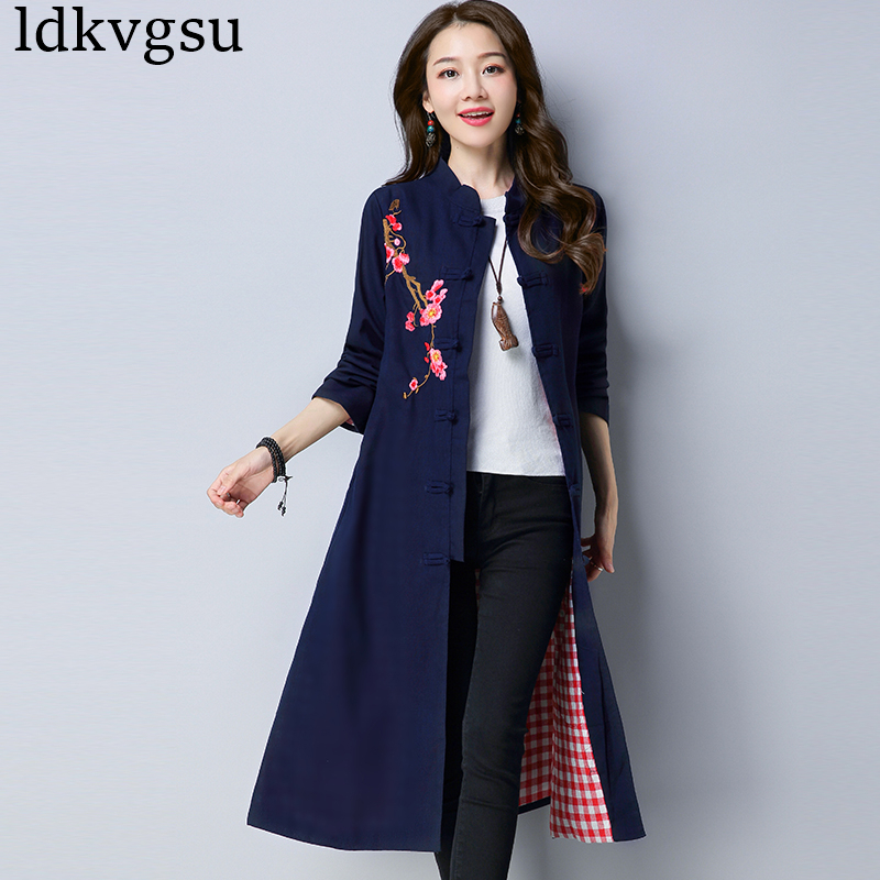Long Cotton Linen   Trench   Coat Women 2018 Spring Autumn New Women's Clothing Vintage Embroidery Floral Loose Windbreaker A503