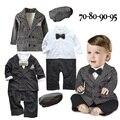 Menino Roupa do bebê 2015 Outono Inverno Novo Bebes Nascidos 3 pcs Roupas conjunto Crianças Jaquetas Coat + Romper + Chapéu Terno Do Bebê Recém-nascido roupas