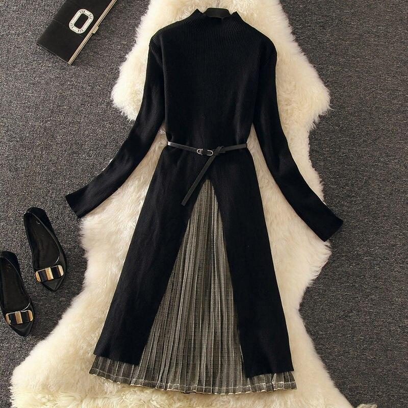 Luosha Costume Dames Longue Silver Col Gold Gray Robe black Roulé Automne Costumes Femmes Pcs Élégant Pull Split Ensemble black 2 Plissée Bureau Hiver Chandail De rTrwqBnzHx