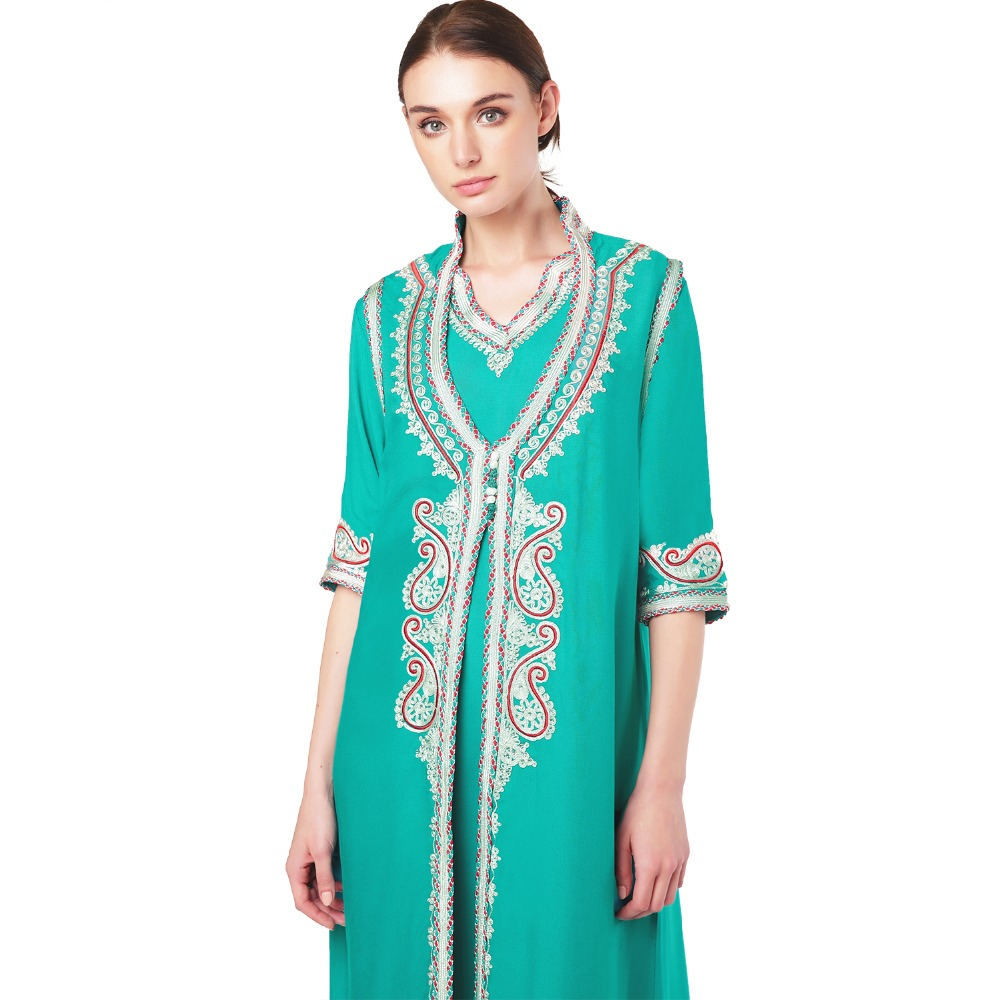 696642d4fd9c3e Women islamic clothing Maxi Long sleeve Dress moroccan Kaftan Caftan abaya  tunic Muslim gown turkish ethnic embroidery dress-in Dresses from Women s  ...