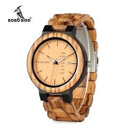 BOBO BIRD новинка, мужские деревянные часы с отображением дня недели и даты, кварцевые часы из двухцветного дерева, прямая поставка
