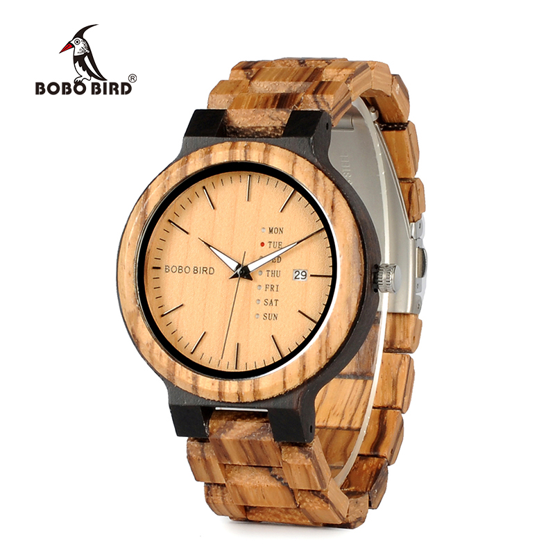 BOBO BIRD Newest Wood Watch for Men with Week Display Date Quartz Watches Two-tone Wooden Drop Shipping bobo bird metal case with wooden fold strap quartz watches for men or women gifts watch send with wood box custom logo clock