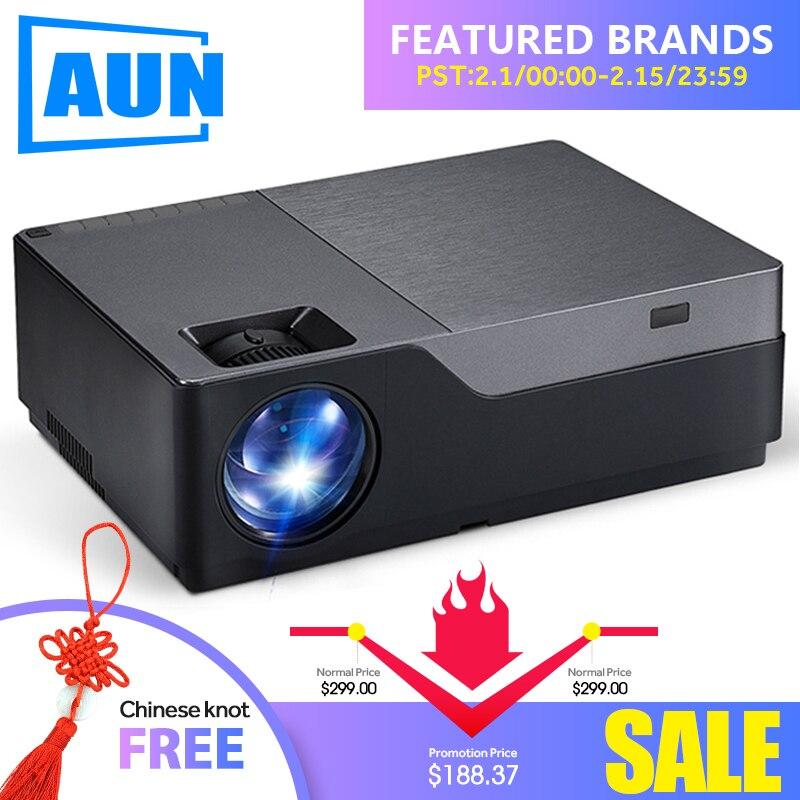 AUN Full HD Projecteur, 1920x1080 Résolution. Projecteur led Soutien AC3. Home Cinéma. 5500 Lumens. (En option Android WIFI) M18